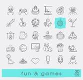 Grupo de linha superior divertimento da qualidade e de ícones dos jogos Fotos de Stock Royalty Free
