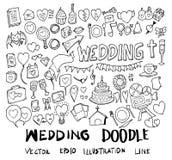 Grupo de linha tirada mão do esboço da garatuja da ilustração do casamento ilustração do vetor
