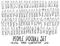 Grupo de linha tirada mão do esboço da garatuja da ilustração dos povos Imagens de Stock