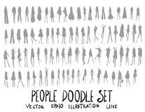 Grupo de linha tirada mão do esboço da garatuja da ilustração dos povos Imagens de Stock Royalty Free
