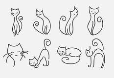 Grupo de linhas curvadas vetor dos gatos dos desenhos animados Foto de Stock