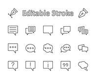 Grupo de linhas do vetor do bate-papo da bolha do discurso de ícones Movimento editável pixéis 32x32 ilustração stock