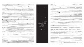 Grupo de 60 linhas finas, feito com a mão e a tinta, a mão livre, ornated, com laços, flourishes, gotas da ponta Illustr preto e  Fotografia de Stock