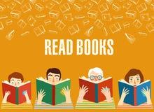 Grupo de livros de leitura dos povos dos desenhos animados Fotos de Stock