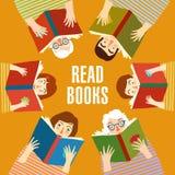 Grupo de livros de leitura dos povos dos desenhos animados Fotografia de Stock Royalty Free