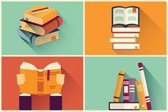 Grupo de livros no projeto liso Imagens de Stock Royalty Free