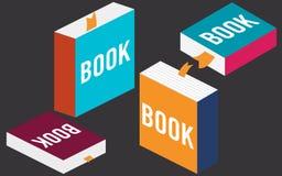 Grupo de livros no projeto liso, Imagens de Stock Royalty Free