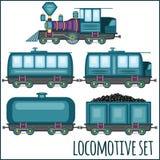 Grupo de locomotivas do vintage Fotografia de Stock