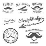 Grupo de logotipo da barbearia do vintage, etiquetas, etiquetas ilustração do vetor