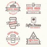 Grupo de logotipo da cafetaria, crachás, bandeira - vector a ilustração Imagem de Stock Royalty Free