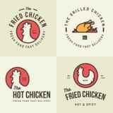 Grupo de logotipo da carne da galinha, de crachás, de bandeiras, de emblema e de elementos do projeto para a loja e o restaurante Fotos de Stock Royalty Free