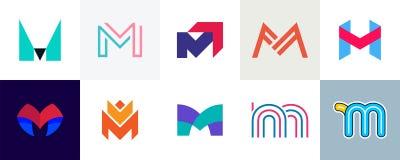Grupo de logotipo da letra M ilustração stock