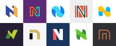Grupo de logotipo da letra N ilustração do vetor