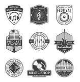 Grupo de logotipo da música do vetor, de ícones e de elementos do projeto Fotografia de Stock Royalty Free