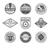 Grupo de logotipo da música do vetor, de ícones e de elementos do projeto Imagem de Stock Royalty Free