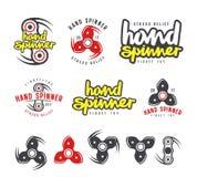 Grupo de logotipo, de emblemas e de ícones do girador da mão Foto de Stock Royalty Free