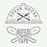 Grupo de logotipo do café e da churrasqueira do vintage, withSet do crachá e do emblema do logotipo do café e da churrasqueira do Imagem de Stock