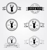 Grupo de logotipo do moderno das etiquetas dos crachás Cabeça dos cervos da ilustração do vetor Moldes retros do emblema do vinta Fotografia de Stock Royalty Free