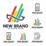 Grupo de logotipo de Stas, molde do projeto do logotipo da finança, achado, nota, telefone, ilustração stock
