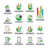Grupo de logotipo verde, molde do logotipo da folha, finança, boilogy, telefone, toque, nota ilustração do vetor