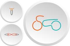Grupo de logotipos clássicos da cor das motocicletas ilustração stock