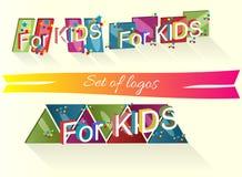 Grupo de logotipos com as palavras para crianças Foto de Stock