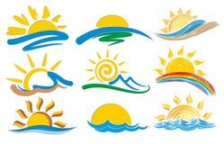 Grupo de logotipos com o sol ilustração do vetor