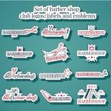 Grupo de logotipos, de etiquetas e de emblemas do clube da barbearia Fotos de Stock