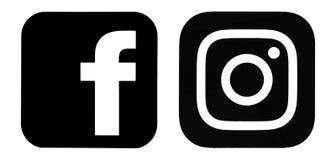 Grupo de logotipos de Facebook e de Instagram Fotos de Stock