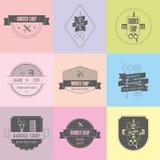 Grupo de logotipos do barbeiro e do corte de cabelo Fotos de Stock Royalty Free