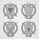 Grupo de logotipos do bilhar e de elementos do projeto Imagens de Stock Royalty Free