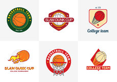 Grupo de logotipos do campeonato do basquetebol da cor do vintage Imagens de Stock