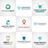 Grupo de logotipos do dente Coleção oral dos símbolos do cuidado Foto de Stock