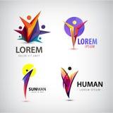 Grupo de logotipos do homem, equipe do vetor, ícone da família Vencedor, líder, logotipo do negócio ilustração stock