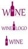 Grupo de logotipos do vinho Fotos de Stock