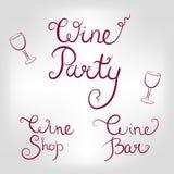 Grupo de logotipos do vinho Fotografia de Stock