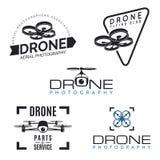 Grupo de logotipos do zangão, de crachás e de elementos do projeto Fotografia de Stock