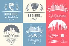 Grupo de logotipos e de crachás do basebol do vintage ilustração royalty free