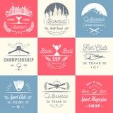 Grupo de logotipos e de crachás do basebol do vintage ilustração stock