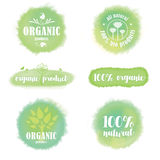 Grupo de logotipos e de crachás orgânicos no fundo do watercolour Fotografia de Stock