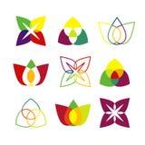 Grupo de logotipos geométricos brilhantes Fotografia de Stock