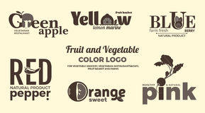 Grupo de logotipos monocromáticos no tema das frutas e legumes Para as lojas, os restaurantes do vegetariano e os cafés vegetais, Foto de Stock Royalty Free