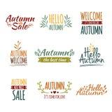 Grupo de logotipos retros coloridos do vintage, ícones ilustração stock