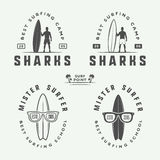 Grupo de logotipos surfando do vintage, emblemas, crachás, etiquetas Imagens de Stock Royalty Free