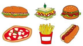 Grupo de los alimentos de preparación rápida. Imagen de archivo libre de regalías