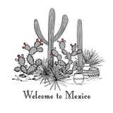 Grupo de los cactus Cactus del higo chumbo, agavos azules, y saguaro Recepción a la tarjeta de México Ilustración del vector Mont libre illustration