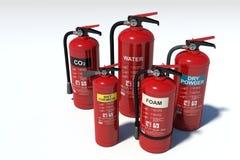 Grupo de los extintores - diversos tipos fotografía de archivo libre de regalías