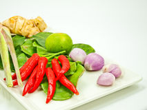 Grupo de los ingredientes de Tomyum (comida tailandesa) Foto de archivo