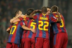 Grupo de los jugadores de FC Barcelona foto de archivo libre de regalías