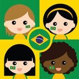 Grupo de los partidarios del Brasil feliz Foto de archivo